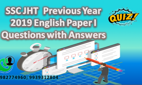 SSC JHT  Previous Year 2019 English Paper I Questions with Answers